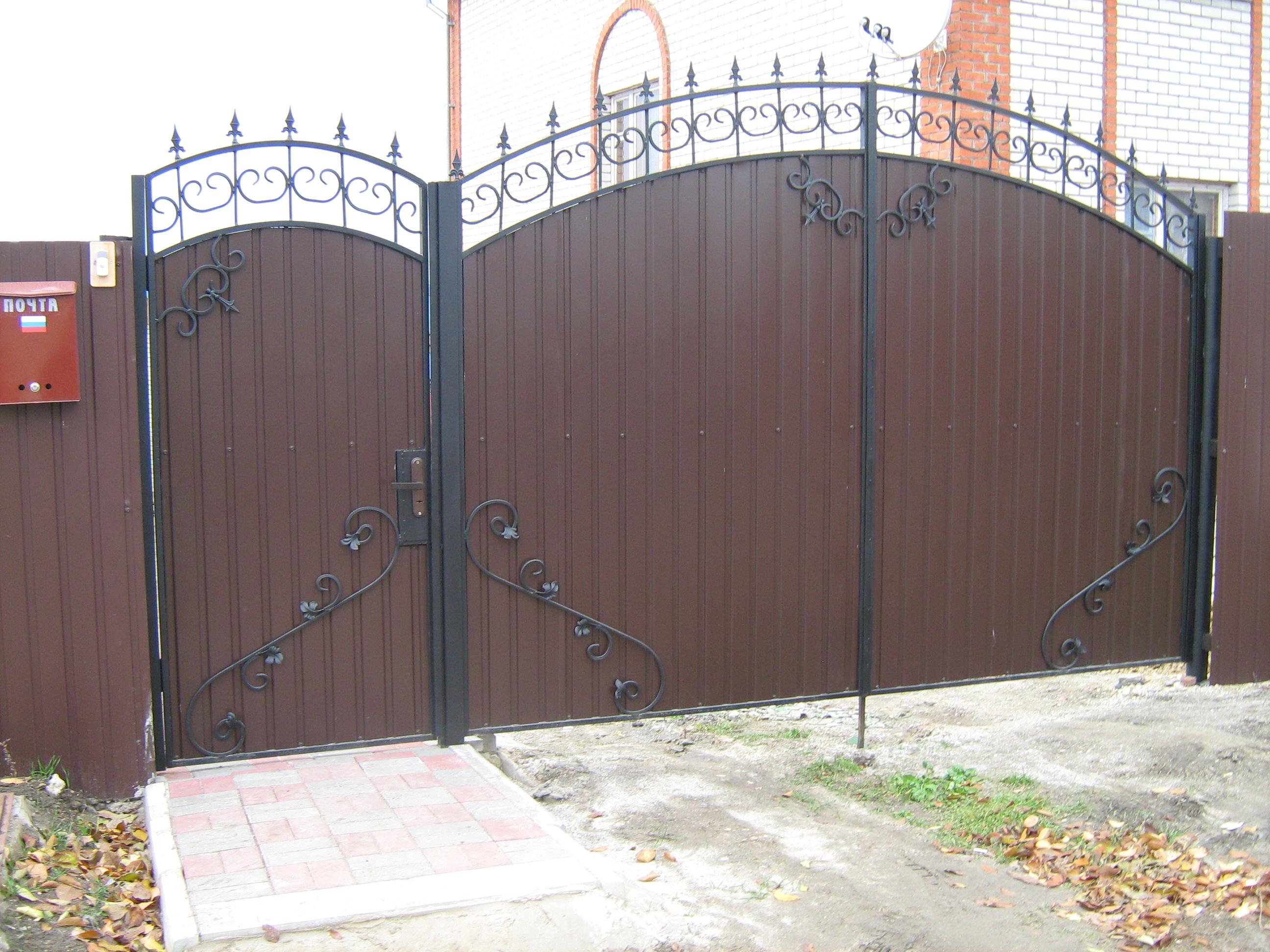 Ворота сварные с профнастилом зделать ворота железные